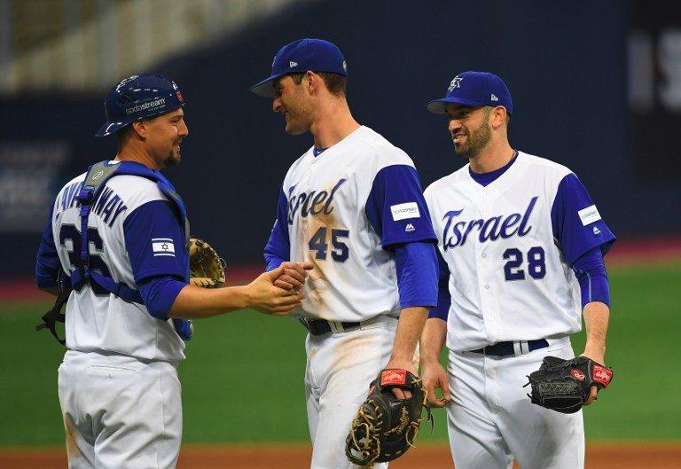 Česká společnost přátel Izraele Oslava-vítězství-chytače-Ryana-Lavarnwaye-polaře-Joshe-Zeida-a-středopolaře-Nate-Freimana-proti-Nizozemsku-v-prvním-kole-turnaje-WBC-2017-v-Gocheok-Sky-Dome-v-Soulu Video-Dokument o baseballovém týmu Izrael Sport